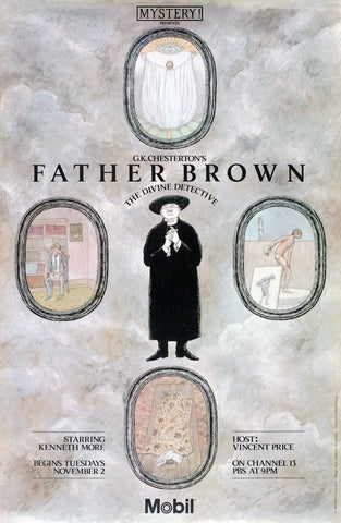 Edward Gorey Father Brown Poster