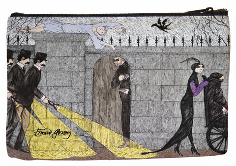Edward Gorey Three Investigators Faux Suede Cosmetic Case