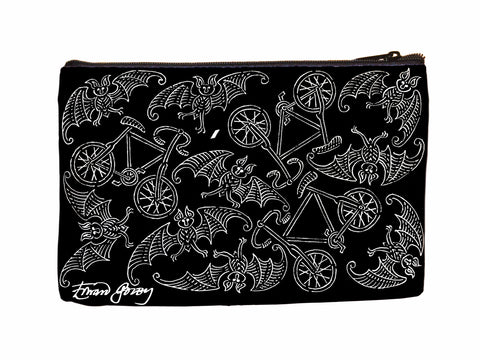 Bats & Bikes Faux Suede Cosmetic Case - GoreyStore
