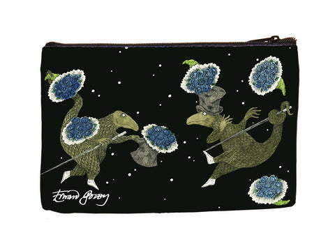 Dancing Lizards Faux Suede Cosmetic Case