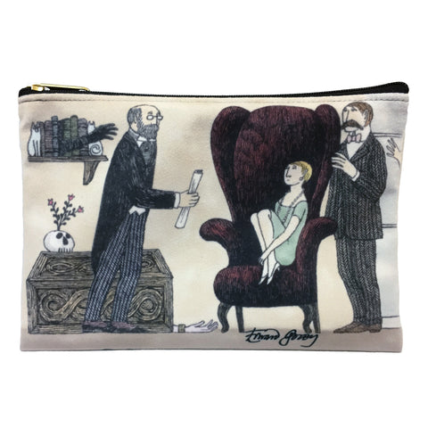 Edward Gorey Mysterious Parlour Faux Suede Cosmetic Case