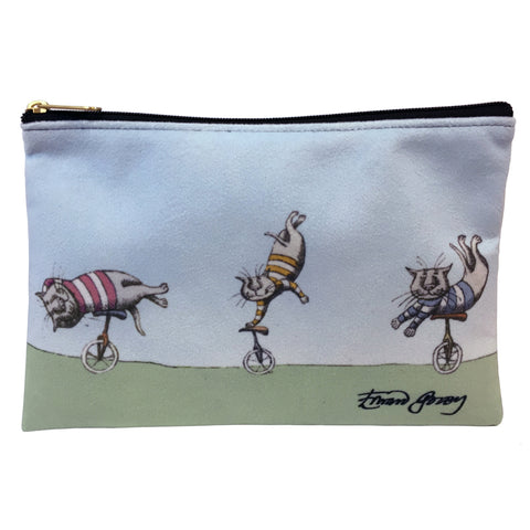 Edward Gorey Unicycle Cats Faux Suede Cosmetic Case