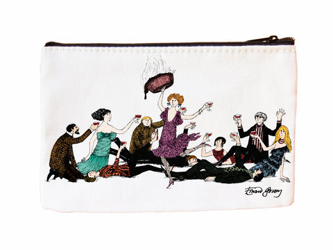 Edward Gorey Surprise Guest Faux Suede Cosmetic Case