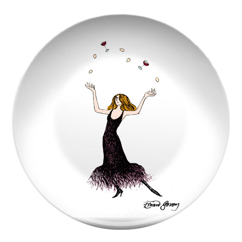 Edward Gorey Juggling Hostess Resin Plate