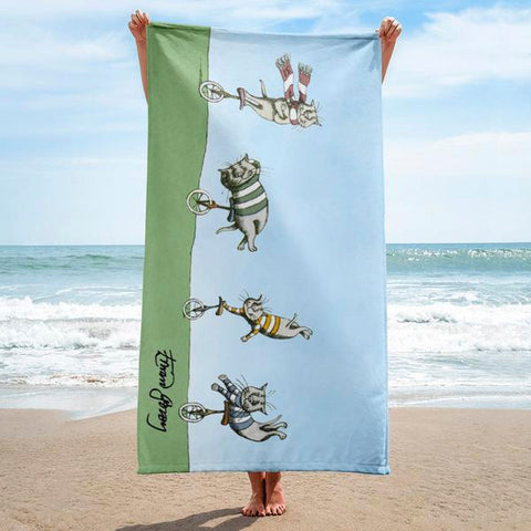 Unicycle Cats Towel - GoreyStore