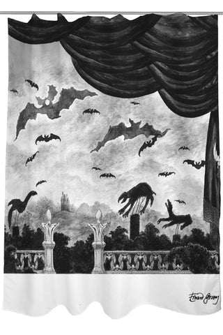 Edward Gorey's Dracula Shower Curtain