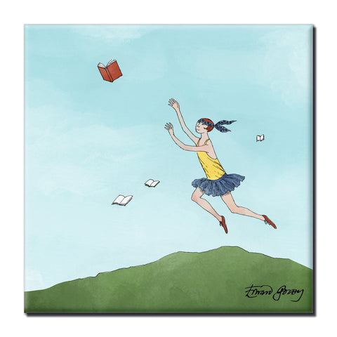 Flying Books Square Magnet - GoreyStore