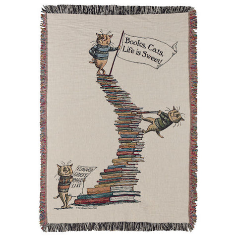 Book, Cats, Life is Sweet Woven Throw