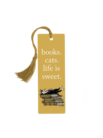 Books. Cats. Life is Sweet. Bookmark - GoreyStore