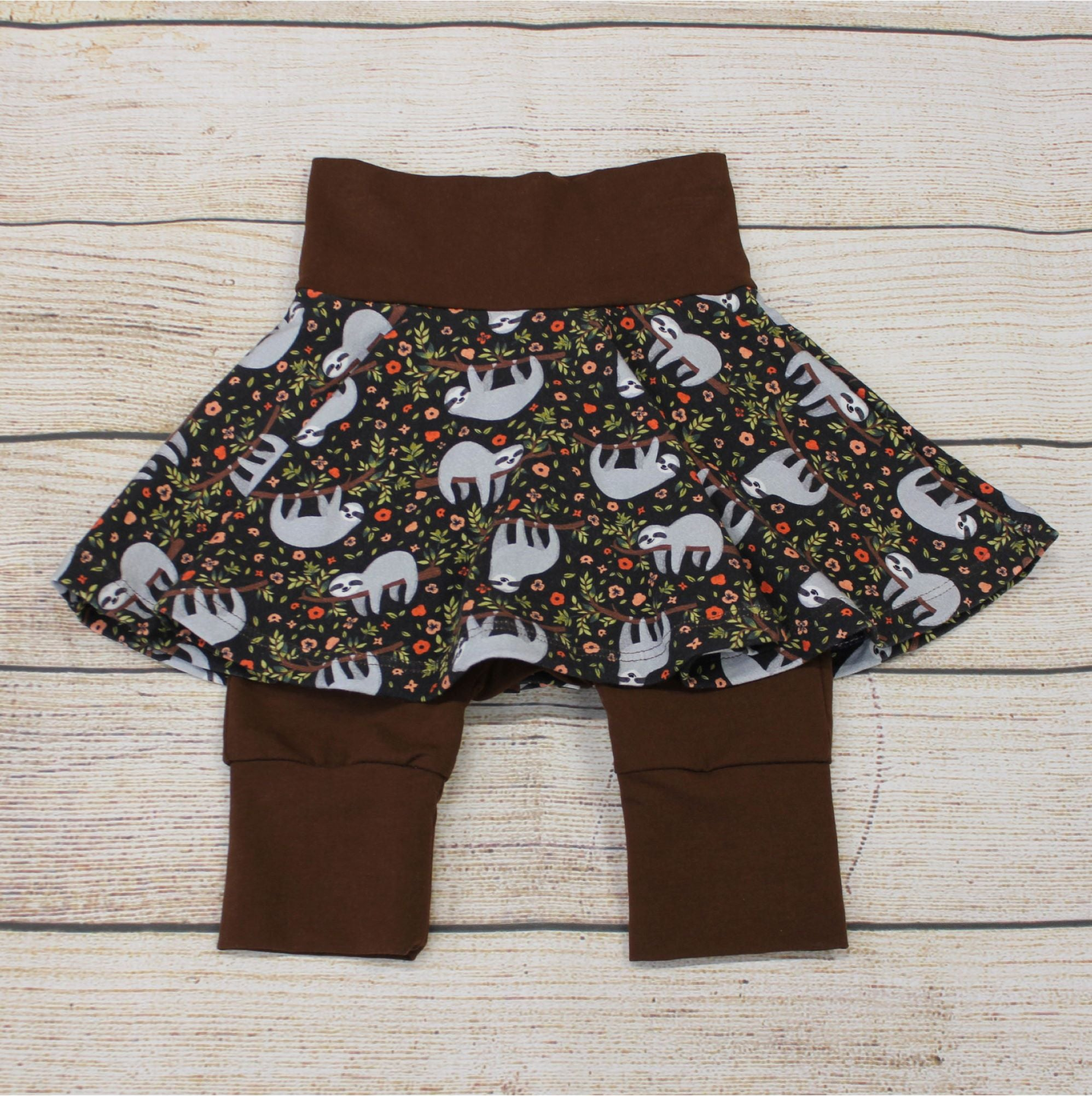 Floral Sloths Twirl Shorts