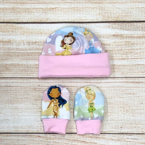 Princesses Newborn Hat & Mitten Set