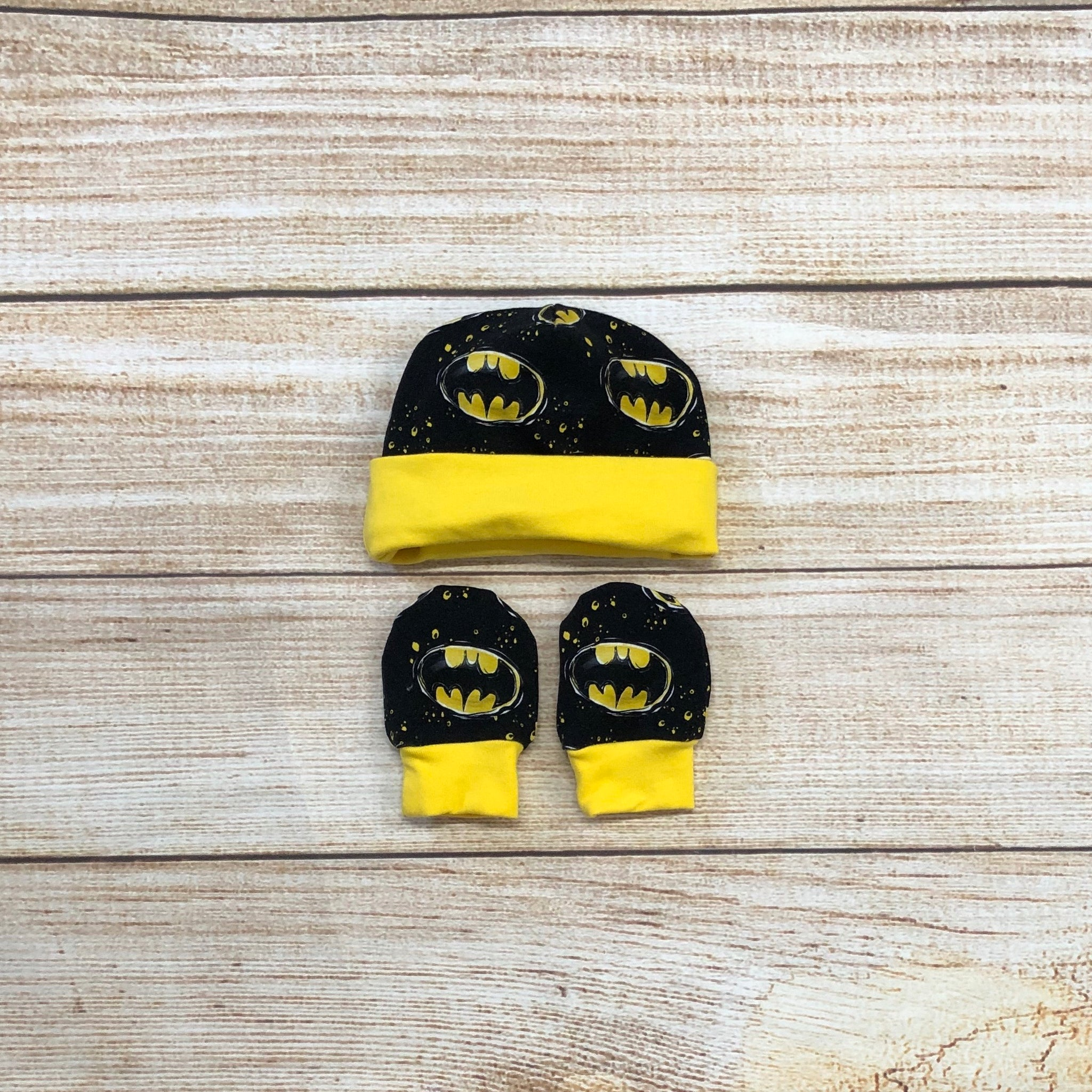 Bat Hero Newborn Hat & Mitten Set