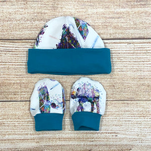 Watercolour Wars Newborn Hat & Mitten Set