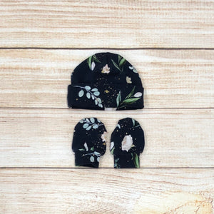 Navy Floral Toss Newborn Hat & Mitten Set