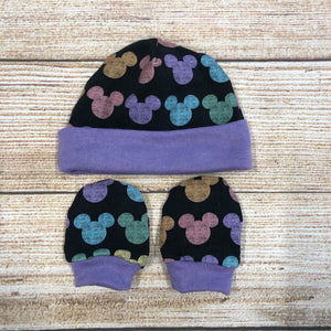 Pastel Mouse Heads Newborn Hat & Mitten Set