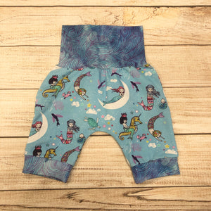 Mermaid Swirls Light Blue Bunny Bottom Shorts