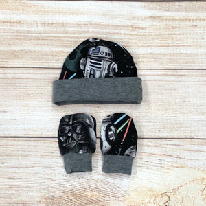 Galactic Wars Newborn Hat & Mitten Set