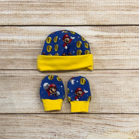Gamer Coins Newborn Hat & Mitten Set