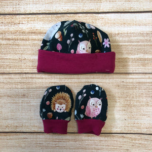 Watercolour Forest Newborn Hat & Mitten Set