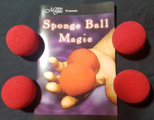 4 RED SPONGE BALLS + Sponge Ball Magic Book ez to learn!