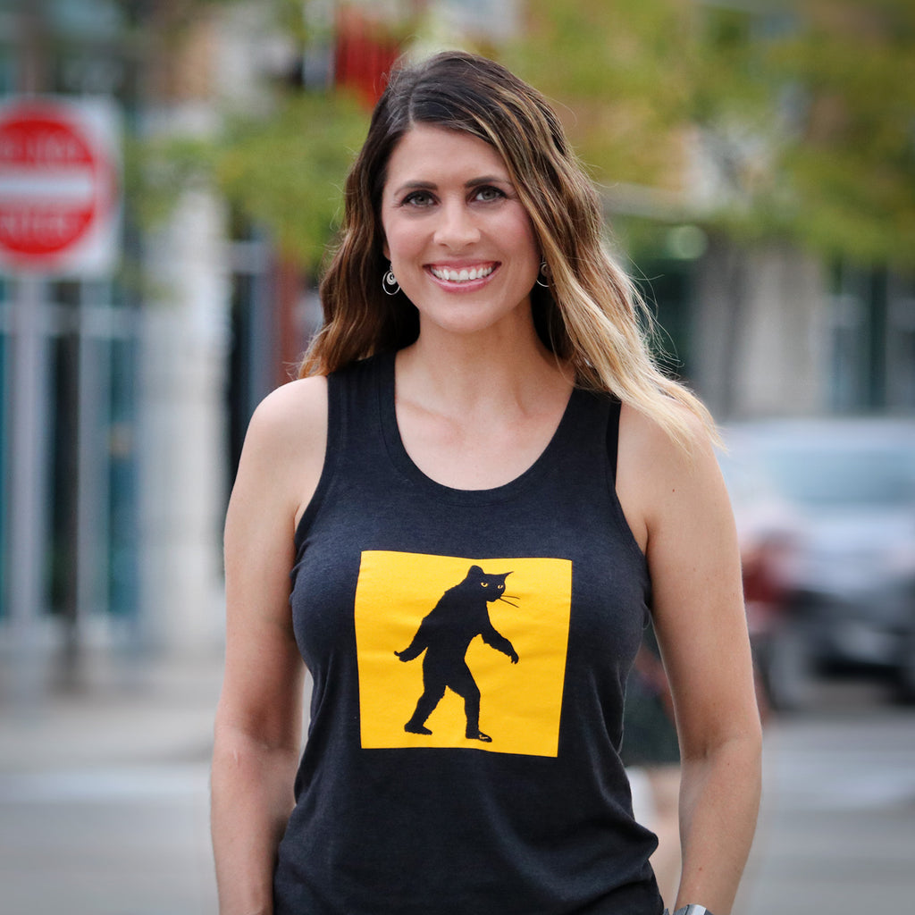 "Ladies Charcoal ""Catsquatch"" Perfect Tri Racerback Tank"