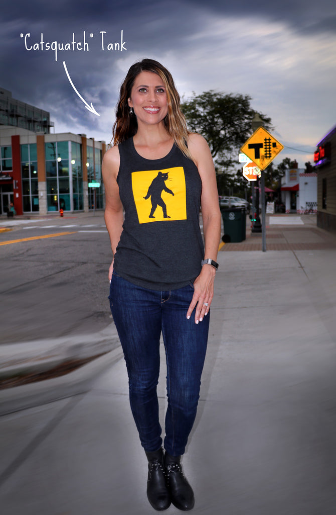 "Ladies Charcoal ""Catsquatch"" Perfect Tri Racerback Tank - Skinny Pete's Gourmet Catnip"