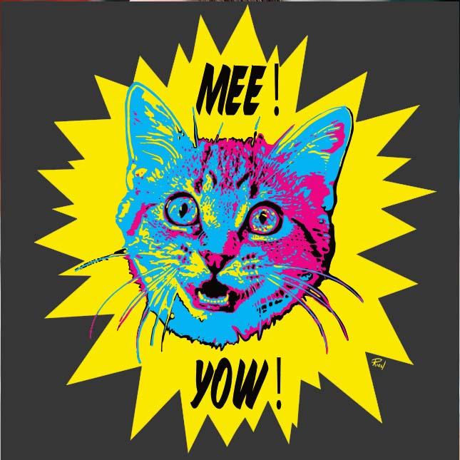 "District Made Unisex VIP ""Mee! Yow!"" Charcoal Tee for her - Skinny Pete's Gourmet Catnip"
