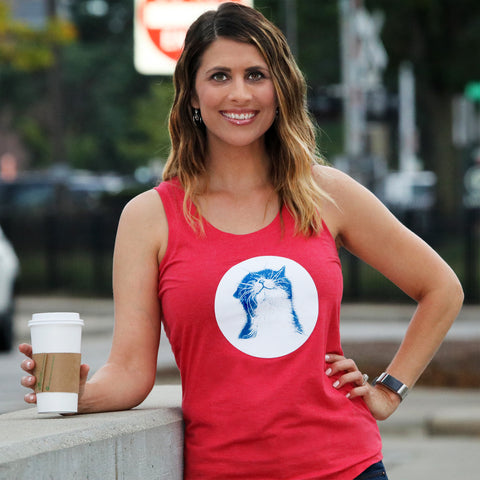 "Ladies Red Frost "" Happy Cat"" Tank"