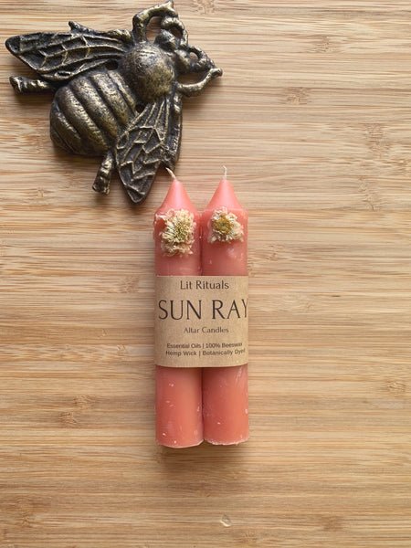 'Sun Ray' Beeswax Altar Candles