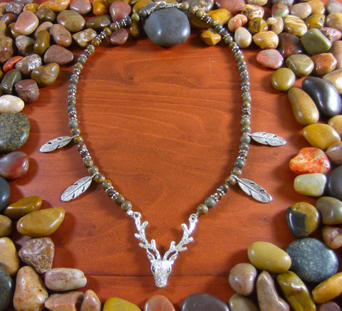 Bamboo Leaf Jasper Deer Necklace
