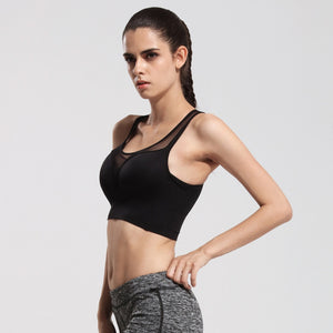 Ladies Yoga Sports Bra Shockproof Wireless Gym Running Jogging Bra Mesh Stitching Sport Girls Tennies Vest | FajasShapewear.com