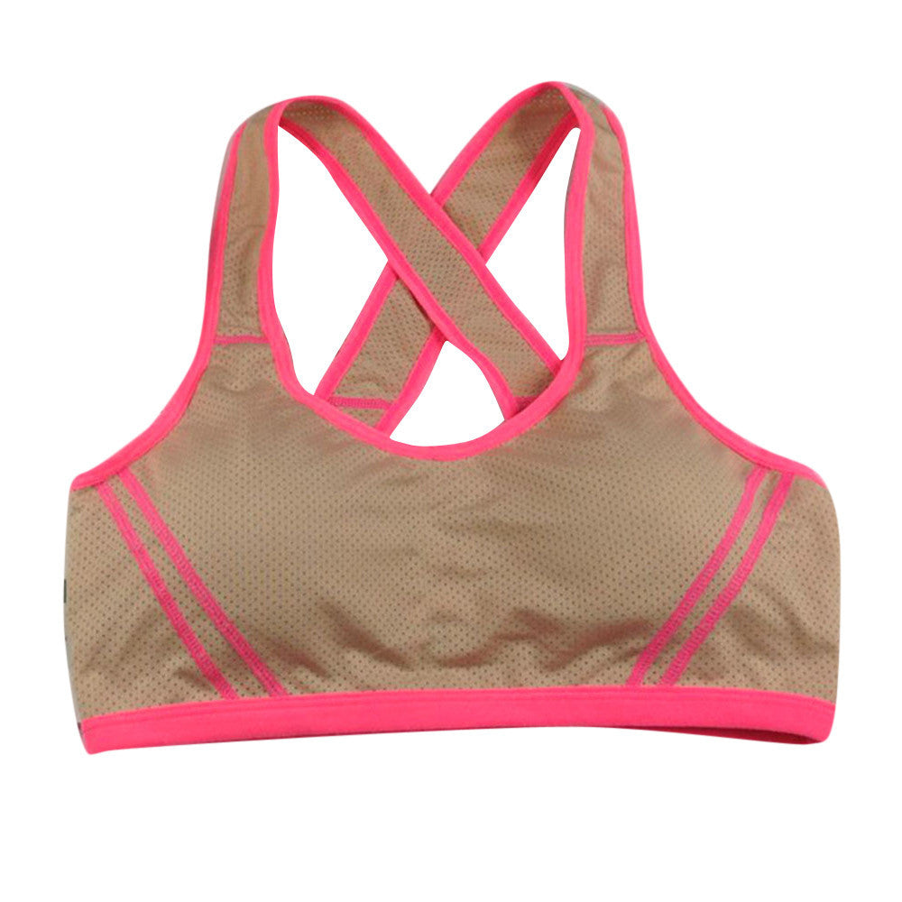 Women Yoga Fitness Stretch Workout Tank Top Seamless Racerback Padded Sports Bra
