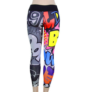 Women's Print Workout Leggings Fitness Sports Gym Running Yoga Athletic Pants