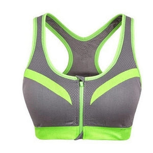 Women's Front Zipper Closure Sports Bra Padded Push Up Wirefree Crop Top Gym Fitness Bra