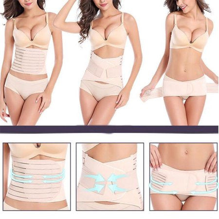 Postpartum Support Set. 3 in 1 Postpartum Recovery Belly Wrap Waist/Pelvis Belt Body Shaper |  FajasShapewear.com