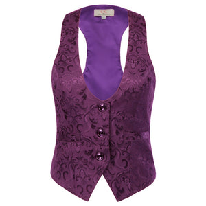Women shapewear Adjustable Strap Jacquard Vest Coat 3-Buttons Waistcoat