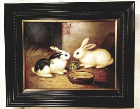 Oil painting of bunnies from Mill House Antiques