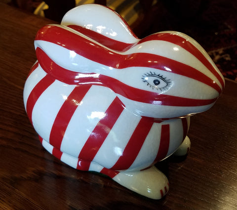 Striped Porcelain Bunny - Red