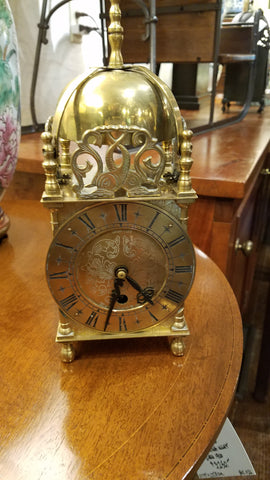Antique English brass clock from Mill House Antiques