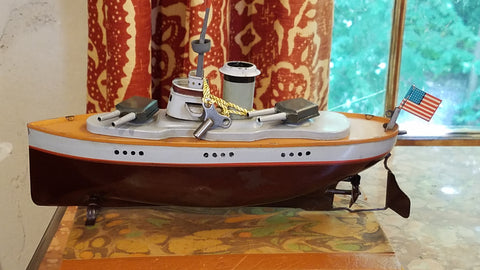 German tin toy battleship from Mill House Antiques