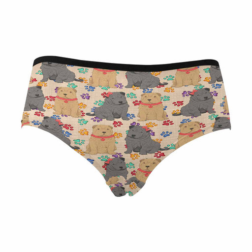 Shar Pei Dogs Red  Women's High Waist Briefs (Model L26)