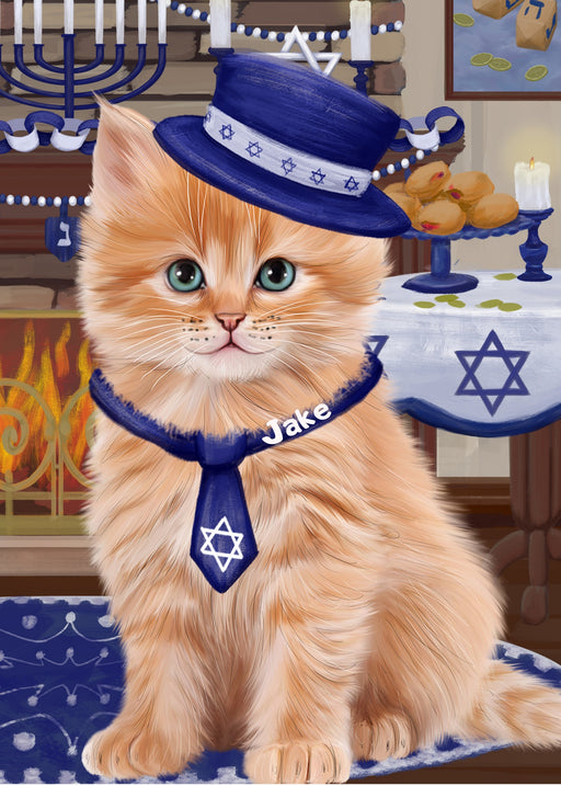 Custom Digital Painting Art Photo Personalized Dog Cat in Hanukkah Background