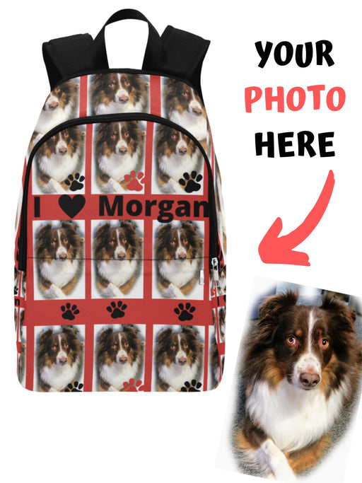 Custom Add Your Photo Here PET Dog Cat Photos on Backpack