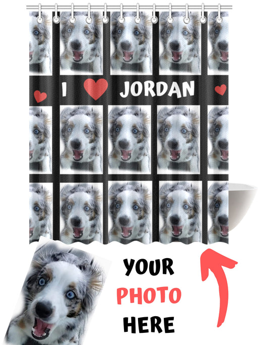 Custom Add Your Photo Here PET Dog Cat Photos on Shower Curtain