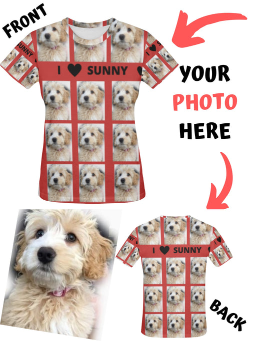 Custom Add Your Photo Here PET Dog Cat Photos on All Over Print Mesh Women's T-shirt