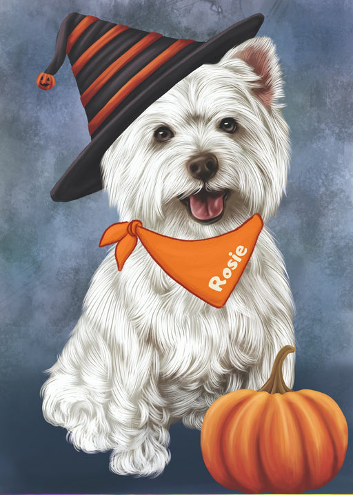 Copy of Custom Digital Painting Art Photo Personalized Dog Cat in Halloween Witch Hat with Pumpkin