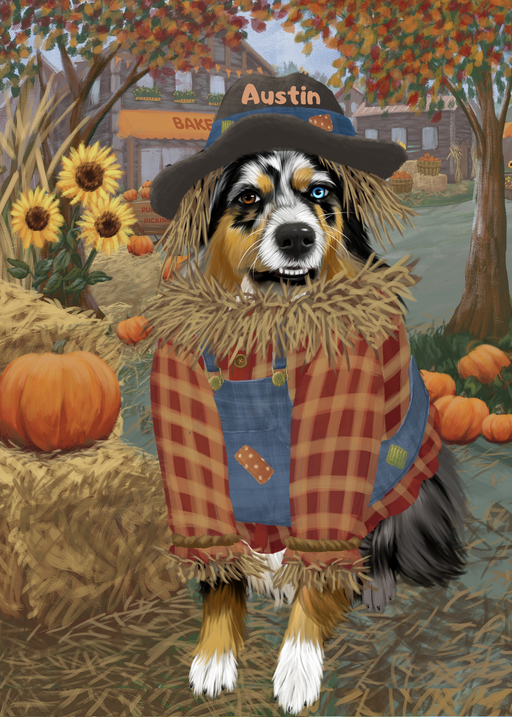 Custom Digital Painting Art Photo Personalized Dog Cat in Fall Pumpkin Scarecrow