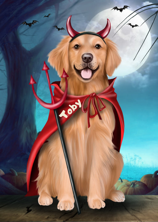Custom Digital Painting Art Photo Personalized Dog Cat in Halloween Trick or Treat