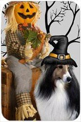 Sheltie Tempered Cutting Board Halloween