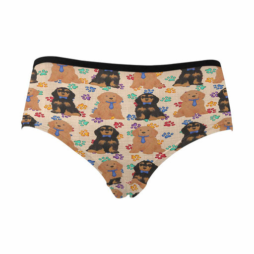 Cocker Spaniel Dogs Blue  Women's High Waist Briefs (Model L26)